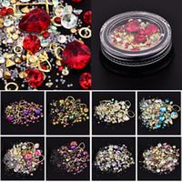 remaches de uñas al por mayor-Decoración de arte de uñas Charm Gem Beads Rhinestone Hollow Shell Flake Flatback Rivet Mixed Glitter Glitter 3D DIY Accesorios