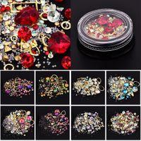ingrosso beads gems-Nail Art Decorazione Charm Gem Beads Strass Hollow Shell Flake Flatback Rivet Misto lucido Glitter 3D accessori fai da te