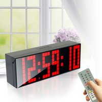 Wholesale backlight stopwatch - Large Digital Jumbo LED Alarm Clock Remote Control Countdown Table Backlight Bedroom Clock Stopwatch Renmote Controller