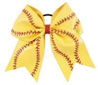 softball saç bantları toptan satış-Saç Aksesuarları Ile Büyük Deri Beyzbol Cheer Yay Elastik Saç Bantları Çiçek Deri Saç Seamed Softball