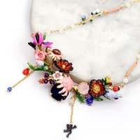 Wholesale chains neckless - Squirrel Mushroom Red Fruit Fairy Tale Christmas Gift Necklace & Pendant For Women Enamel Choker Fashion Charm jewelry Neckless