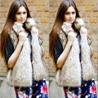 Wholesale Womens Fur Coat Rabbit - 2017 Winter Womens Fake Fur Coats Plus Size Sleeveless Faux Fur Jacket Ladies Luxury Fluffy Rabbit Vest Gilet Fourrure Femme