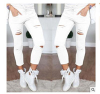 Wholesale white high waist jeans - Women Fashion Cotton Hole Pencil Pants Skinny Nine Points Pants High Waist Stretch Jeans Slim Pencil Trousers Capris