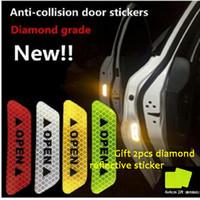 Wholesale 3m reflective motorcycle stickers - 4PCS Pack 3M High Reflective Warning Mark Color Change OPEN Motorcycle Bike Helmet Car Door Sticker Decals