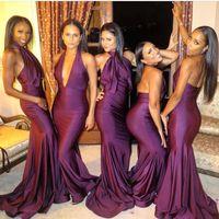 Wholesale halter trumpet wedding dresses - New Sale 2018 Elegant Purple Mermaid Bridesmaid Dresses Halter Neck Elastic Satin Long Wedding Guest Prom Party Gowns BA9483