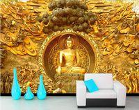 mural de buda venda por atacado-Buda de ouro templo budista mural personalizado grande sala de estar da tela de fundo da parede papel de parede 3d estéreo papel de parede