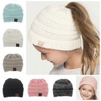Wholesale Kids Crochet Beanies - Kids CC Ponytail Hats Knitted CC Trendy Beanie Winter Oversized Chunky Skull Caps Soft Cable Knit Slouchy Crochet Hats 6 Colors YYA991