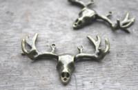 Wholesale vintage deer head - 6pcs lot Antler Skull charms,Antique Bronze tone Vintage Large Artistic 3D Deers Heads With Antlers Charm Pendants 55x38mm