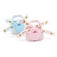 rosa blaue bärenkarikatur großhandel-12pcs Baby Dusche Pink / blau Cute Cartoon Bär Papier Süßigkeiten Tasche Geschenk Süßigkeiten Box Kinder Geburtstagsparty DIY Dekorationen liefert