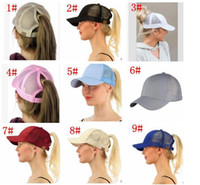 Wholesale girls skull caps - 13 color CC Ponytail Cap Messy Bun Women Ponytail Caps Cap Fashion Girl Basketball Hats Back Hole Pony Tail KKA4383