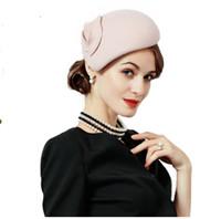 8a8f38b59fc blue kentucky derby fascinator hats NZ - Fascinator Wool Felt Hat Women  Pink Pillbox Hats Beret
