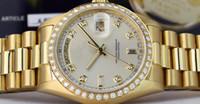 Wholesale sapphire diamond watches - Free Shipping Luxury 36mm 18kt Gold Day Date President Silver 8+2 DIAMOND 18048 Automatic Movement Watch Men's Sport Wrist Watches