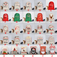 Wholesale cloth bags - 2018 Christmas Large Canvas Monogrammable Santa Claus Drawstring Bag With Reindeers Monogramable Christmas Gifts Sack Bags