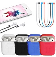 Wholesale Ear Silicone Case - Case + Cable + Earplug Airpod Protective Airpods Cover link Bluetooth Wireless Earphone Silicone Waterproof Anti-drop Accessories For Apple