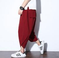 gevşek keten toptan satış-Moda Yeni Erkekler Japon Samurai Tarzı Boho Casual Gevşek Fit Harem Baggy Hakama Capri Kesilmiş Keten Pantolon Pantolon