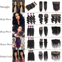 Wholesale only deep - Cheap Straight 8A Brazilian Human Hair Bundles with Frontal 100% Unprocessed Body Wave Virgin Hair Bundles with Closure Deep Wave Extensions