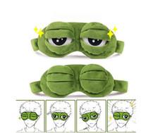 portadas divertidas al por mayor-Sad Frog Eye Mask 3D Cartoon Cute Sleeping Mask Eyes Cover Sleep Sad Frog Cerrado / Abrir Eye Funny Mask KKA5720