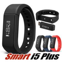 Wholesale touch i5 - I5 Plus Smartwatch Bracelet Wristband Bluetooth 4.0 Waterproof Touch Screen Wireless Fitness Tracker Sleep Monitor Smartband in Box