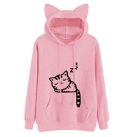 ingrosso felpe con cappuccio-2018 Kawaii Cat Ear Hoodies Donne Cute Cartoon Sleeping Cat Stampa Felpa Con Cappuccio Casuale Allentato Pullover Tuta Capispalla Y1891402