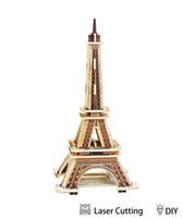 construir torre eiffel al por mayor-Rompecabezas de madera de madera modelo 3D torre Eiffel rompecabezas de bricolaje ingeniería juguetes educativos Mejor modelo de juguetes regalos para niños adultos