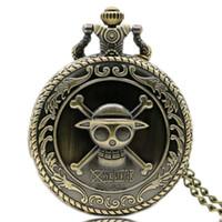 relógio de bolso de uma peça venda por atacado-Vintage Bronze Clássico Japonês Animate Pirata Crânio One Piece Quartz Relógio Dos Desenhos Animados Relógio de Bolso Pingente de Presente das Crianças P312