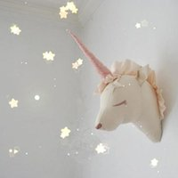 Wholesale Teddy Wall Decor - Wholesale-INS Toys Unicorn Head Wall Mount Cute Animal Heads Wall Hanging 3D Wall Decor Artwork for Kids Room Stuffed Toys Christmas Gifts