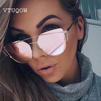 Luxo Cat Eye Óculos De Sol Das Mulheres Designer De Marca-Duplo Ponte Retro  Óculos De Sol Feminino Óculos De Sol Para As Mulheres Senhora Sunglass Rose  Gold 7446a98d5b