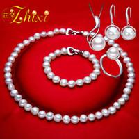 natürlicher perlenring real großhandel-[ZHIXI] Real Pearl Schmuck Set Weiß Natürliche Broque Süßwasser Perlenkette Armband Ohrringe Ring Für Frauen Trendy Geschenk T125