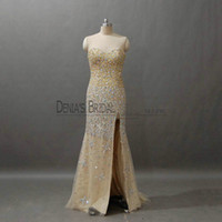 Wholesale Pictures Stars - 2018 Bling Mermaid Evening Dresses with Sweetheart Neckline Sweep Train Side Split Beadeds Stars Gold and Silver Trumpet Party Prom Gowns