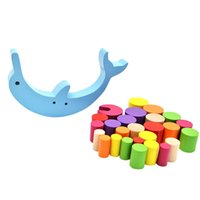 ingrosso gioca il bambino delfino-Blocchi Impilabili in legno Blocchi Giocattoli Dolphin Balance Scrivania Giochi Building Blocks Bambini Baby Giocattoli didattici interattivi di apprendimento precoce