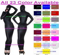 traje de cuerpo vestido sexy al por mayor-Sexy 23 Color Lycra Spandex Body Bags Traje de Disfraces Con los Ojos Abiertos boca Sexy Saco de dormir Outfit Halloween Fancy Dress Cosplay Suit P155