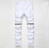 marcas de ropa para hombre de mayor calidad al por mayor-Pantalones de diseñador de alta calidad de la ropa de la marca Destroyed Mens Shorts de mezclilla delgados Jeans rectos del motorista Jeans de los hombres Hip Hop arrancó los pantalones vaqueros 28-38
