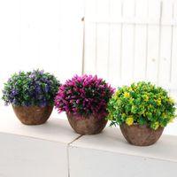 flores artificiales bonsai al por mayor-Año nuevo Plantas artificiales Florero Set Plantas de plástico Bonsai Flor artificial en maceta Boda Hogar Jardín Decoración de oficina