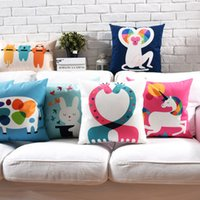 Wholesale monkey cow resale online - Cartoon Monkey Rabbit Cow Unicorn Giraffe Cushion Cover Styles X45cm X50cm Soft Pillow Covers Pillow Cases Bedroom Sofa Decor