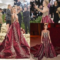 Wholesale blake lively yellow dress - Blake Lively 2018 Cannes Red Carpet Celebrity Dresses Luxury Gold Lace Crystal Burgundy Mermaid Arabic Prom Occasion Dress with Overskirt