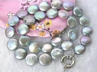 akoya graue perlen großhandel-NEUE weibliche geschenk Schöne! 10-11 MM Graue Münze Akoya Perlenkette 18