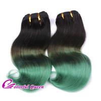 Wholesale Darker Black Cosplay - 400g Short Ombre Green Human Hair Bundles Body Wave 8pcs Lot 2 Tone Green and Black Human Hair Weave Bundles Full Head Cosplay
