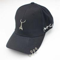 Wholesale Rivet Hats - 2018 new Romantic Paris Eiffel Tower Men Women Cap Punk Rivets Ring Hats embroidery letters Baseball Hat Cotton Snapback Hat Bone