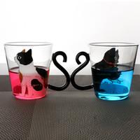Wholesale music mugs - Cute Creative Cat Kitty Glass Mug Cup Tea Cup Milk Coffee Cups Music Dots English Words Home Office Cups HH7-903