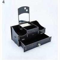 ящики для ящиков для хранения древесины оптовых-Бесплатная доставка Оптовая косметический макияж DIY ювелирные изделия сетки зеркало ящик типа WoodPP ящик для хранения