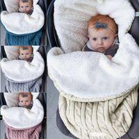 Wholesale crocheting cotton for sale - Baby Sleeping Bags Winter Cotton Crochet Knitting Thick Blanket Baby Warm Swaddling Blanket Infant Stroller Sleep Sack KKA5693
