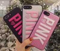 Wholesale Glitter Silicone Iphone Cases - 2017 Fashion Design Glitter 3D Embroidery Love Pink Phone Case For iPhone X, iPhone 8, 7, 6 Plus