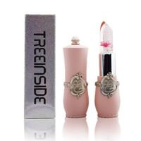 flower jelly lipstick großhandel-Hohe Qualität Langlebige Feuchtigkeitscreme Transparents Blume Lippenstift Kosmetik Wasserdicht Temperatur Farbwechsel Gelee Lippenstift Balsam
