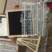diy fühlte handwerk großhandel-DIY 10x10 Black Felt Letter Board + 340 Buchstaben frei Craft Knife Coth Beutel Eiche Holzrahmen Staffeleien Message Boards DHL geben Schiff frei