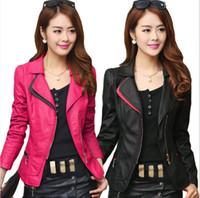 Wholesale best leather jackets - Noble and elegant short slim leather jacket women coat 2018 new best selling spring high quality PU Leather coat women jacket plus size
