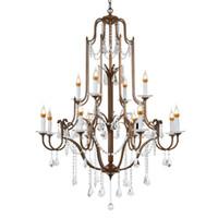 ingrosso antiche lampade-Lusso Vintage E14 K9 cristallo antico oro led lampadario di cristallo apparecchi di illuminazione per loft scala soggiorno camera da letto casa lampada
