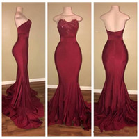 Wholesale vintage dresses cheap online - Sweetheart Burgundy Mermaid Prom Dresses Lace Appliques Sexy Slim Special Occasion Party Gowns Custom Online Vestidos De Soiree Cheap