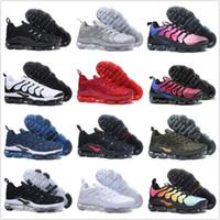 Wholesale online running shoes - 2018 NEW Vapormax TN Plus Men shoes For Cheap Air Tn Plus white Black red Basketball Running Shoes Online Sale Tn Requin Chaussures