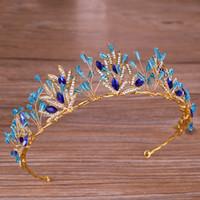 ingrosso blu corona tiaras-Blue Crystal Strass Crown Bride Princess Crown Diademi Accessori per capelli Copricapo Matrimoni fatti a mano Commercio all'ingrosso di gioielli da sposa