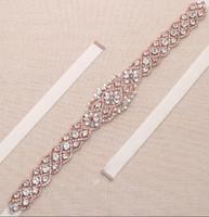 Wholesale Crystal Flower Girl Sash - MissRDress Dazzling wedding belt for gown bridal sash belt crystal with rose gold metal base crystal rhinestones waistband YS829